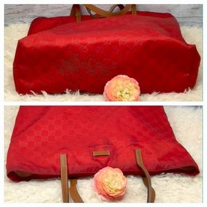 368f5f6a84c Gucci Bags - Authentic Gucci Red Canvas Tote Bag